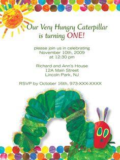Very Hungry Caterpillar Invitation.