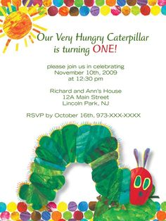 Very Hungry Caterpillar Invitation.
