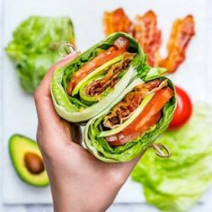 BLT Avocado Wraps makes 3 servings Ingredients: 3 large slices of crisp iceberg lettuce head of butter lettuce 6 slices nitrate free bacon, cooked 1 avocado, thinly sliced r. Wrap Recipes, Clean Eating Recipes, Low Carb Recipes, Cooking Recipes, Healthy Recipes, Avocado Fat, Lettuce Wraps, Healthy Wraps, Avocado
