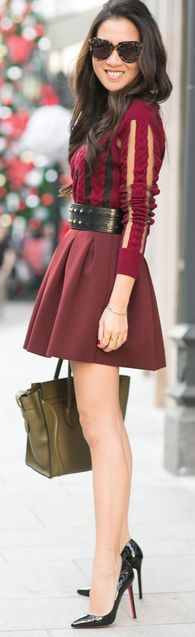 Flared burgundy skirt, great shoes and nice legs.