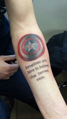 Love the quote but as much as I love captain America I wouldn't put his shield permanently only arm