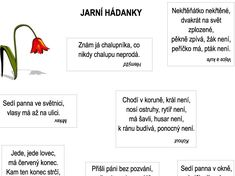 Jarní hádanky – Dětské stránky Worksheets, Crafts For Kids, Jar, Activities, Education, School, Inspiration, Google, Brunettes