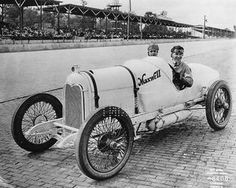 AUTO RACING: Eddie Rickenbacker in Maxwell race car at Indianapolis.  Eddie Rickenbacker was a famous racecar driver and WWI flying ace. After the war he was vice-president of a company that produced a car named the Rickenbacker.