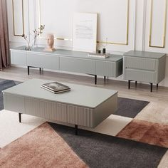 Modern 70 - Modern Long TV Stand Gray TV Console with Drawers Line Media Console with Black Metal Legs - Living Room Tv, Living Room Modern, Living Room Designs, Living Spaces, Console Tv, Tv Console Design, Tv Console Decorating, Tv Console Modern, Cabinet Design