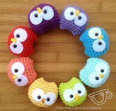 Crochet Baby Owl Ornaments - Tutorial    Kleine Eulen, Anleitung