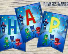 Pj Masks Happy Birthday Banner Chalkboard Pj by SometimesPie