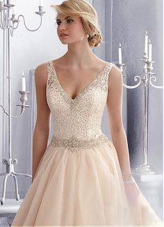 Elegant Venice Lace & Tulle V-neck Neckline Natural Waistline Ball Gown Wedding Dress With Embroidered Beadings