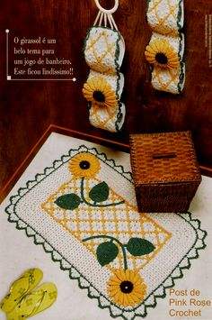 Crochet Sunflower, Chor, Bathroom Rugs, Bathroom Accessories, Doilies, Coasters, Mandala, Clip Art, Garland