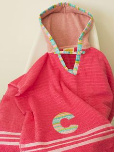 Hooded Towel Poncho Personalized in Bright Pink & Blush. Boy