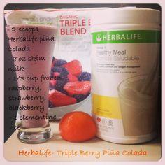 Herbalife- Triple Berry Piña Colada www.facebook.com/360fitnessandnutrition #nutrish_360fitnessandnutrition Herbalife Meal Plan, Herbalife Shake Recipes, Protein Shake Recipes, Herbalife Nutrition, Protein Shakes, Health Shakes, Nutrition Shakes, Smoothie Drinks, Smoothie Diet