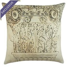 "Linen throw pillow with a Roman column print.  Product: PillowConstruction Material: LinenColor: Beige and blackFeatures:  Handmade in the USA by TheWatsonShopEnvelope enclosureInsert included Dimensions: 16"" x 16""Cleaning and Care: Dry clean"