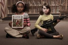 "Moms Demand Action launched the PSA campaign, ""Choose One,"" a series of print ads featuring assault weapons alongside other objects that have been banned in America to protect child welfare."
