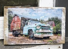 Barn and Vintage Chevy Wall Hanging, Fine Art Photograph Manually Transferred to Reclaimed Wood, Ready to Hang in Your Home Custom Wall, Old Trucks, Decorating Your Home, Chevy, My Photos, My Etsy Shop, Barn, Display, Fine Art