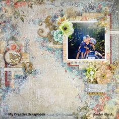 Remember When *** My Creative Scrapbook using the November Limited Edition kit, which features Blue Fern Studios Memoires papers and flowers, as well as chipboard and Prima flowers.