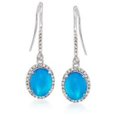Ross-Simons Blue Opal, White Zircon Drop Earrings in Silver, 1.00ct t.w.