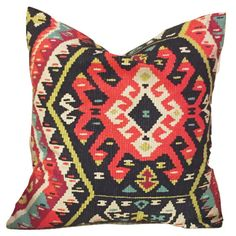One decorative pillow cover featuring a Citrine, red, blue, cream, & pink aztec screen print fabric. For a custom made look, the same fabric
