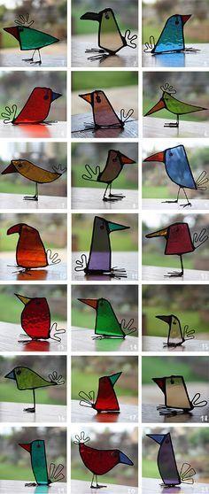 Birds - Glass Art reciclaje de recortes cristal