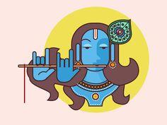 Janmashtami illustration of Lord Krishna Indian Art Paintings, Modern Art Paintings, Krishna Painting, Krishna Art, Mayan Symbols, Viking Symbols, Egyptian Symbols, Viking Runes, Ancient Symbols