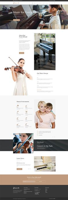 Singerella - Music School WordPress Theme WordPress Theme Web Design, Site Design, Layout Design, Design Ideas, Graphic Design, School Website Templates, Template Site, Mise En Page Web, Schools Near Me