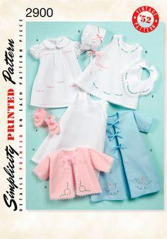 Babies Layette sewing pattern vintage 2900 Simplicity  Vintage 1950's Babies layette and bonnet sewing pattern.