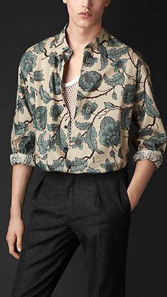 Camisa de artista con estampado floral en seda y algodón