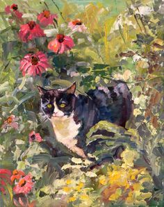 """Janet Greco  """"Among the Flowers"""" When my Jelly used to go in the garden. 14"""" x 11"""" oil"""