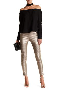 b75461fb0f93e4 Moto Coated Leggings Leather Leggings Outfit, Night Outfits, Electrum,  Holiday Outfits, Fall