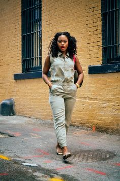 Air Force Yan- New post up. #pilotsuit #jumpsuits #Zara #MarcJacobs #AnnTaylor #NaturalHair #KinkyCurls