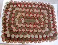 Antique Penny Rug/Tongue Rug, dated 1912