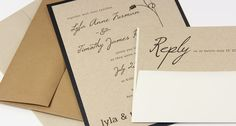 kraft black and white wedding invitation suite with tag and twine printed on desert - Invitation Card Stock