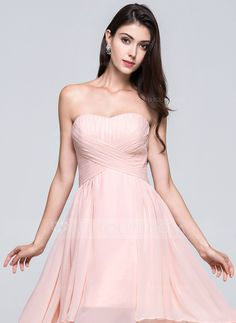 A-Line/Princess Sweetheart Asymmetrical Ruffle Zipper Up Strapless Sleeveless No Pearl Pink Spring Summer Fall General Plus Chiffon Bridesmaid Dress