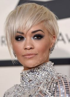Rita Ora  - platinum pixie hairstyle at the Grammy Awards 2015.