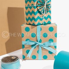 Wrapco Chevron Teal on Kraft gift wrap and Large Dot Teal on Kraft gift wrap. www.wrapco.com.au