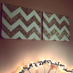 Glitter chevron canvas. Easy! Tape chevron pattern with painters tape - spray glue, pour on the glitter, shake & let dry. Remove tape & voila!