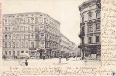 Ulica Szczytnicka. Widok od ul. Benedykta Polaka w kierunku ul. Wyszyńskiego. Po lewej kamienica nr 51, po prawej narożna kamienica nr 54