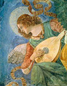 c 1480 Melozzo da Forli (Italian 1438-94) ~ Angel with Lute [Vatican Museum]