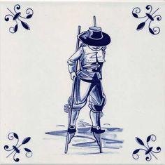 OUDHOLLANDSE TEGEL DELFTS BLAUW STELTLOPER 15 x 15 CM