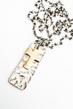 Silver Gold Cross Pendant, Oxidized Sterling Silver Pyrite Chain, Dog Tag Jewelry, Free USA Shipping