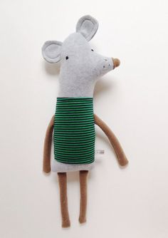 cool contemporary repurposed tshirt plushie mouse in a cute childrens illustration design