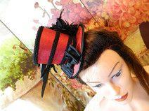 Mini Zylinder rot schwarz Damenhut Gothic Minihat