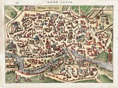 Ancient Rome City Map by DigitaIDecades, Ancient Egyptian Art, Ancient Aliens, Ancient Rome, Ancient History, Ancient Greece, Old Maps, Antique Maps, Vintage Maps, Roman History