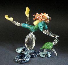 Blonde Hair Glass Scuba Diver with Turtle Lampwork Art Glass Sculpture