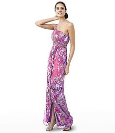 Adrianna Papell for E! Live From the Red Carpet Printed One-Shoulder Gown | Dillards.com