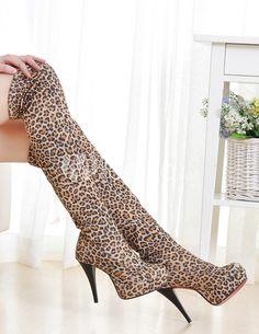Leopard Print redonda Toe salto Stiletto da mulher sobre as botas de joelho - Milanoo.com