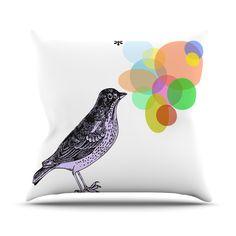 "Sreetama Ray ""Candy Birds"" Geometry Bird Throw Pillow"
