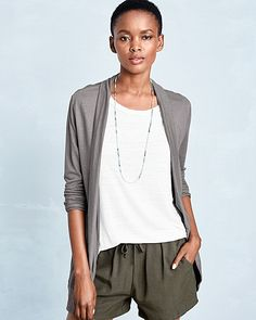 Linen & Modal Pocket-Detail Cardigan