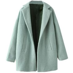Mint Green Slouchy Woolen Coat OASAP.COM (€44) ❤ liked on Polyvore featuring outerwear, coats, jackets, oasap, woolen coat, women coats, wool coat, green coat and mint coat