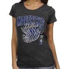adidas Dallas Mavericks Ladies Originals Nice Shot Too Cap Sleeve Fitted T-Shirt - Black