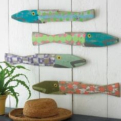 whimsical painted fish...these would be so fun to make with the kids, just need to find someone to cut them out for us...