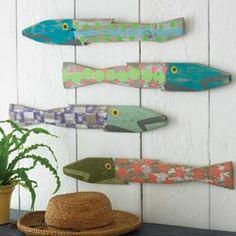 Dad Gifts- Fish Sticks- Saltwater Fish Art Block Set of 5 ...